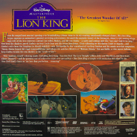 Lion King Laserdisc backside 			deluxe